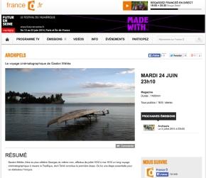 Diffusion MÉLIÈS À TAHITI sur France O le 24 juin 2014